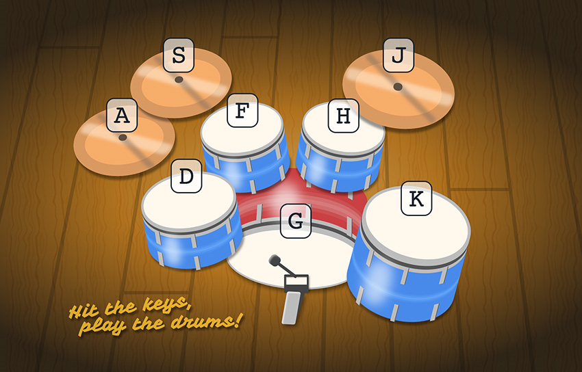 Screengrab of coded drumkit.