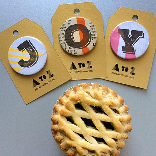 Vintage A-Z badges.
