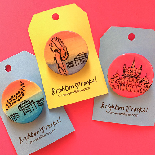 Brighton illustrated badges.