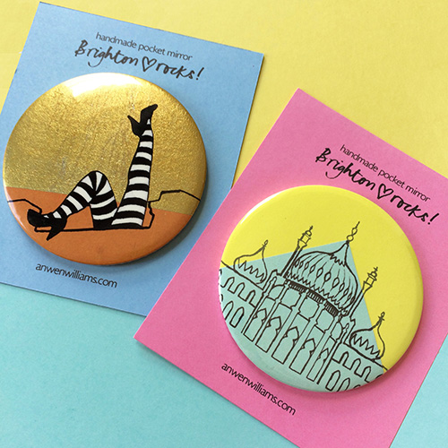 Brighton illustrated pocket mirrors.
