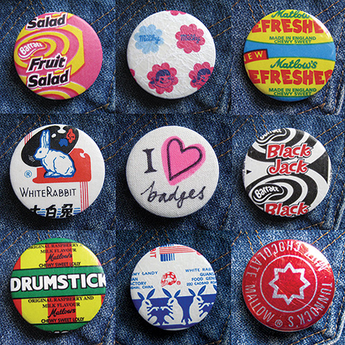 Retro sweet wrapper badges.